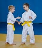 Taekwondo: two boys training. Blue background Stock Photo