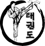 Taekwondo. Vector illustration taekwondo martial and hieroglyph tae kwon do Royalty Free Stock Images