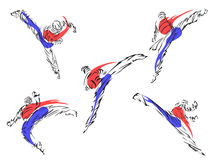 Taekwondo vektor för silueta för konstflickor krigs- Royaltyfri Fotografi