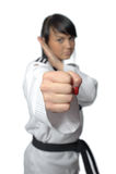 Taekwondo. Woman in a kimono Stock Photography