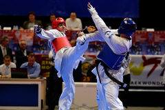 Taekwondo WTF match Russia vs Iran. St. Petersburg, Russia - October 17, 2015: Taekwondo WTF junior teams match Russia vs Iran during the martial arts festival stock images