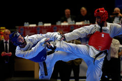Taekwondo WTF match Russia vs Iran. St. Petersburg, Russia - October 17, 2015: Taekwondo WTF junior teams match Russia vs Iran during the martial arts festival stock photo
