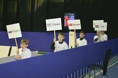 Taekwondo wtf toernooien Stock Foto's