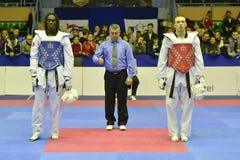 Taekwondo wtf toernooien Stock Afbeeldingen