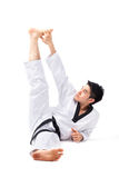 Taekwondoactie stock foto's