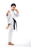 Taekwondoactie royalty-vrije stock afbeeldingen