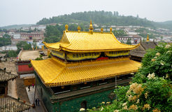 Taer Temple golden top. Decorative golden building top of Taer Temple, Qinghai, China Royalty Free Stock Photos