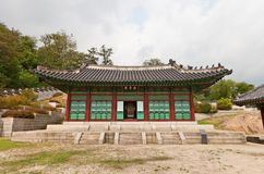 Taeryeongjeon Hall av den Gyeonghuigung slotten (1617) i Seoul, Kore Royaltyfria Foton