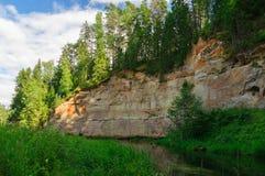 Taevaskoda美丽如画的露出在Ahja河的 免版税库存图片