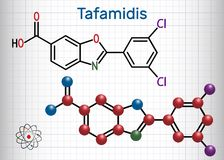 Tafamidis trade name Vyndaqel molecule. Sheet of paper in a ca. Ge. Structural chemical formula and molecule model. Vector illustration stock illustration