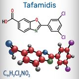 Tafamidis trade name Vyndaqel molecule. Structural chemical fo. Rmula and molecule model. Vector illustration royalty free illustration
