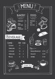 Tafel-Cafémenü mit Bäckerei, Lebensmittel und Getränk Stockfotos
