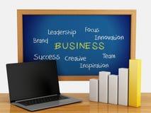 Tafel 3d mit Geschäft Diagramm und Laptop-PC Stockfoto