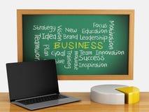 Tafel 3d mit Geschäftsdiagrammen und Laptop-PC Lizenzfreies Stockfoto