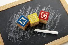 Tafel mit ABC Stockfotos