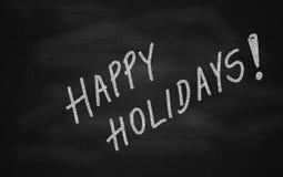 Tafel mit frohe Feiertage Meldung stockfoto