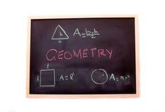 Tafel mit Geometrielektion Stockfotos