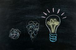 Tafel mit Kreide-Zeichnung des Hängens der Glühlampe Helle Idee Stockfoto