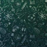 Tafel mit Kreide-Zeichnungs-Mustern stockbilder