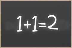 Tafel mit Text 1+1=2 Stockbild