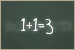 Tafel mit Text 1+1=3 Stockfotografie