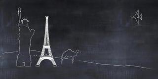 Tafel mit Zeichnungen, Tourismuskonzept lizenzfreie abbildung