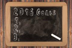 Tafel mit 2016 Zielen lizenzfreie stockbilder