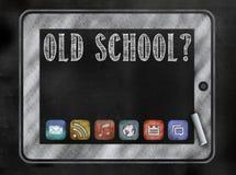 Tafel oder Tafel mit Tablette und APP-Ikonen Lizenzfreie Stockfotos