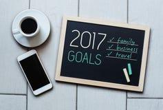 Tafel- oder Tafelkonzeptsagen - 2017 Ziele Stockfoto