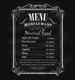 Tafel-Rahmenvektor der Restaurantmenüweinlese Hand gezeichneter Stockbild