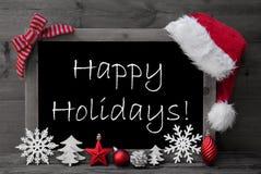 Tafel-Santa Hat Christmas Decoration Happy-Feiertage Stockfoto