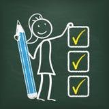 Tafel Stickwoman-Checkliste Stockfotos