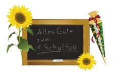 Tafel und Sonnenblumen Lizenzfreie Stockbilder