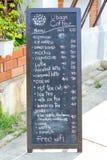 Tafelmenü auf einer Kaffeestube Stockfoto