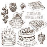 Tafelobstbonbonsatz Kuchen, kleiner Kuchen, Waffel, Erdbeere, Himbeere, Blaubeere, Korinthe Gezeichnete Illustration des Skizzenv Lizenzfreie Stockbilder