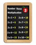 Tafels van vermenigvuldiging van nummer drie Stock Afbeeldingen