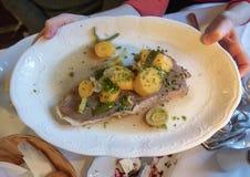 Tafelspitz o carne de vaca hervida, plato vienés, Viena, Austria foto de archivo