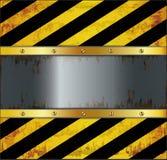 TafelWarnungsschildmetall rostig Stockfotos