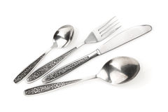 Tafelzilver of tafelgereedschapreeks van vork, lepels en mes Stock Afbeelding