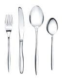 Tafelzilver of tafelgereedschapreeks van vork, lepels en mes Stock Afbeeldingen