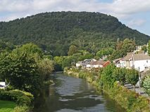 TAFF RIVER IN PONTYPRIDD SOUTH WALES VALLEYS stock photography