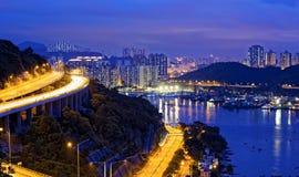 Taffic Night scene of Ting Kau suspension bridge Royalty Free Stock Photo