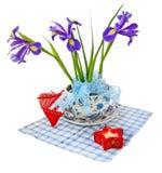 Taffies (irises) and heart Stock Photo