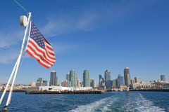 Taffrail view of the skyline of San Diego Royalty Free Stock Photo