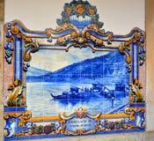 Tafluje azulejos przy stacją kolejową Pinhao, Douro dolina Fotografia Royalty Free