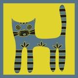 Tafsar den gulliga handen drog gråa katten med randigt och svansen på en gul bakgrund Royaltyfri Bild