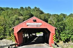 Red Taftsville Covered Bridge in the Taftsville Village in the Town of Woodstock, Windsor County, Vermont, United States. Taftsville Red Covered Bridge in the royalty free stock photo