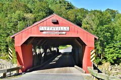 Taftsville Covered Bridge in the Taftsville Village in the Town of Woodstock, Windsor County, Vermont, United States. Taftsville Red Covered Bridge in the Royalty Free Stock Photography