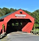 Taftsville täckte bron som lokaliserades i den Taftsville byn i staden av Woodstock, Windsor County, Vermont, Förenta staterna arkivbild