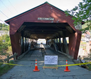 Taftsville Vermont Covered Bridge after Irene. Tropical storm Irene dumped tons of water on Vermont causing massive flooding. This covered bridge in Taftsville royalty free stock photography